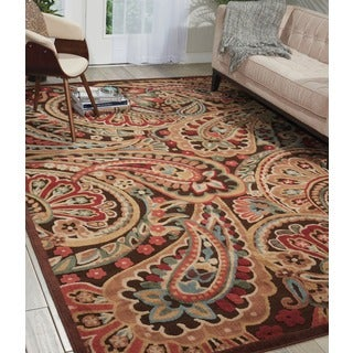 Nourison Graphic Illusions Red Paisley Rug (3'6 x 5'6)
