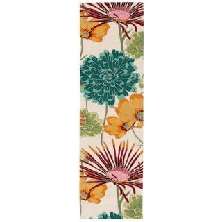 Nourison Fantasy Ivory Floral Runner Rug (2'3 x 8')