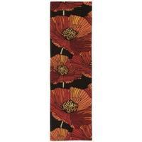 """Nourison Fantasy Black Floral Rug (2'3 x 8') - 2'3"""" x 8' Runner"""