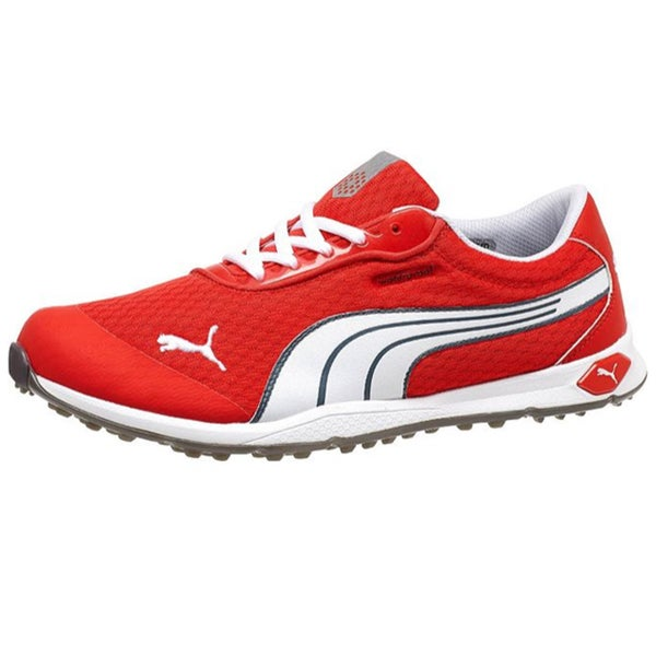 Shop Puma Men s Biofusion Spikeless Mesh Grenadine White Turbulence Golf  Shoes - Free Shipping Today - Overstock - 9773056 b232aad9d997