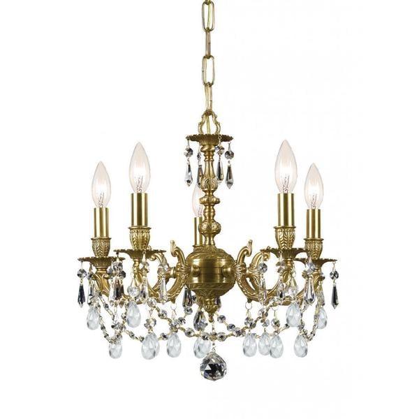 Traditional mirabella 5 light antique gold mini chandelier