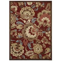 Nourison Graphic Illusions Red Floral Rug (7'9 x 10'10) - 7'9 x 10'10