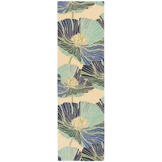 Nourison Fantasy Ivory/ Aqua Floral Rug (2'3 x 8')
