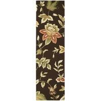 "Nourison Fantasy Chocolate Floral Rug (2'3 x 8') - 2'3"" x 8' Runner"