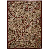 Nourison Graphic Illusions Red Paisley Rug (7'9 x 10'10)