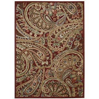 Nourison Graphic Illusions Red Paisley Rug