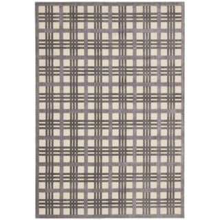 Nourison Graphic Illusions Ivory/ Taupe Plaid Rug (7'9 x 10'10)