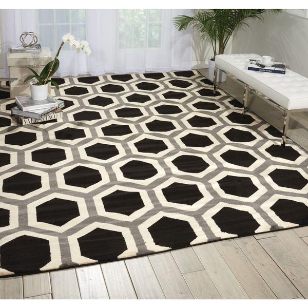Nourison Nova Black White Geometric Rug 7 X27