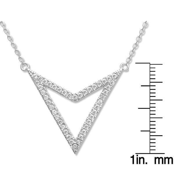 La Preciosa Sterling Silver CZ Reversible Triangle Necklace