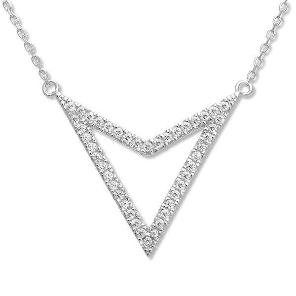 La Preciosa Sterling Silver CZ Reversible Triangle Necklace. Opens flyout.