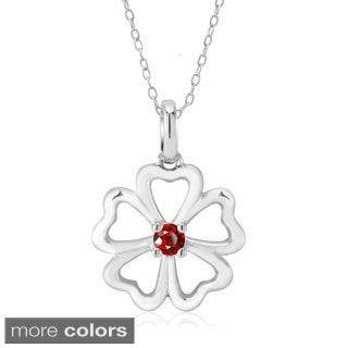 Sterling Silver Heart Shape Clover Cubic Zirconia Birthstone Pendant Necklace