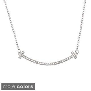 La Preciosa Sterling Silver Micro Pave CZ Smile Necklace