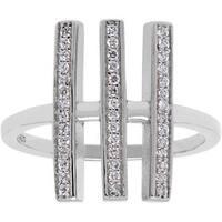 La Preciosa Sterling Silver Triple Vertical Bar CZ Ring