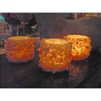 Handmade Set of 3 Small Sparkling Cylinder Candle Holder (Egypt)