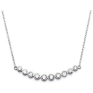 La Preciosa Sterling Silver CZ Curved Bar Necklace