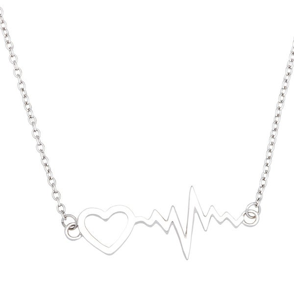 La Preciosa Sterling Silver Heartbeat with Heart Necklace