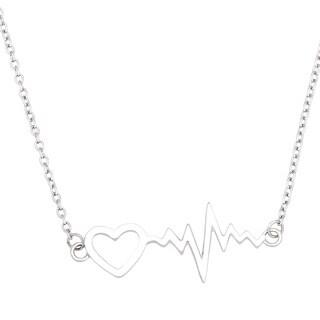 La Preciosa Sterling Silver Heartbeat with Heart Necklace