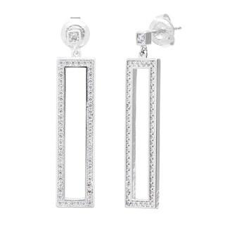 La Preciosa Sterling Silver Micro-pave CZ Open Rectangle Earrings