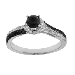 10k White Gold 3/4ct TDW Black and White Diamond Engagement Ring