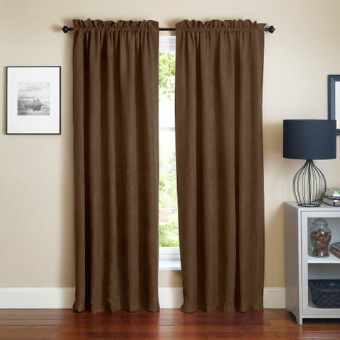 Blazing Needles Microsuede Blackout 84-inch Curtain Panel Pair - 52 x 84 - 52 x 84