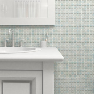 SomerTile 13x13-inch Guadiana Square Mother of Pearl Glass Mosaic Wall Tile (Pack of 18)