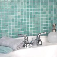 SomerTile 13x13-inch Guadiana Square Niebla Azul Glass Mosaic Wall Tile (18 tiles/21.53 sqft.)