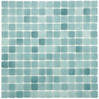 SomerTile 13x13-inch Guadiana Square Niebla Azul Anti Slip Glass Mosaic Floor and Wall Tile (Case of