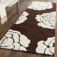 Safavieh Handmade Cambridge Brown/ Ivory Wool Rug - 2'6 x 8'