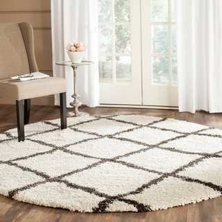 Safavieh Belize Shag Ivory/ Charcoal Moroccan Rug (6'7 Round)
