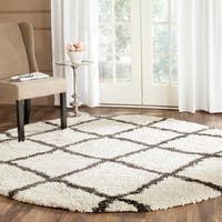 """Safavieh Belize Shag Ivory/ Charcoal Moroccan Rug - 6'7"""" x 6'7"""" round"""