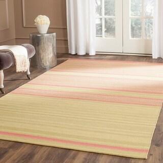 Safavieh Hand-Woven Kilim Lime/ Pink Wool Rug (5' x 8')