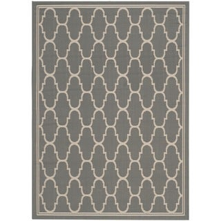 Safavieh Courtyard Trellis Anthracite/ Beige Indoor/ Outdoor Rug (5'3 x 7'7)