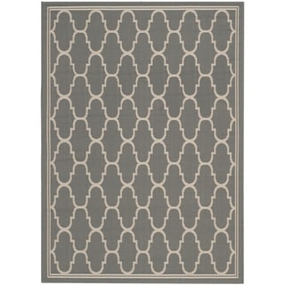 Safavieh Courtyard Trellis Anthracite/ Beige Indoor/ Outdoor Rug (6'7 x 9'6)