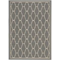 Safavieh Courtyard Trellis Anthracite/ Beige Indoor/ Outdoor Rug - 8' x 11'2