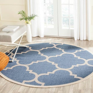 Safavieh Courtyard Quatrefoil Blue/ Beige Indoor/ Outdoor Rug (4' Round)