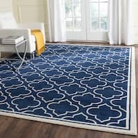 Safavieh Indoor/ Outdoor Amherst Navy/ Ivory Rug - 7' x 7' Square