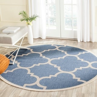 Safavieh Courtyard Quatrefoil Blue/ Beige Indoor/ Outdoor Rug (7'10 Round)