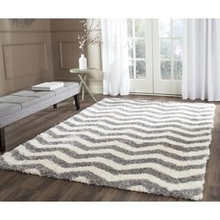 Safavieh Montreal Shag Ivory/ Grey Stripe Polyester Rug (3' x 5')