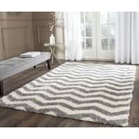Safavieh Montreal Shag Ivory/ Grey Stripe Polyester Rug - 3' x 5'