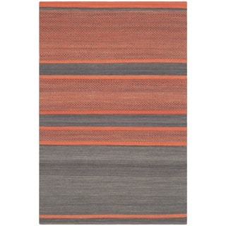 Safavieh Hand-Woven Kilim Dark Grey/ Orange Wool Rug (4' x 6')