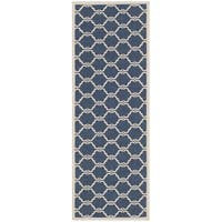 "Safavieh Courtyard Moroccan Navy/ Beige Indoor/ Outdoor Rug - 2'3"" x 8'"