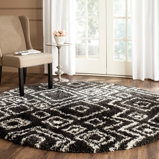Safavieh Belize Shag Charcoal/ Ivory Moroccan Rug (6'7 Round)