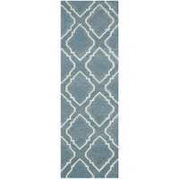 Safavieh Hand-woven Dhurries Blue/ Ivory Wool Rug - 2'6 x 8'