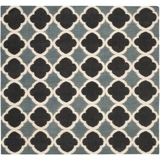 Safavieh Handmade Flatweave Dhurries Meryl Modern Wool Rug (6 x 6 Square - Blue/Navy)
