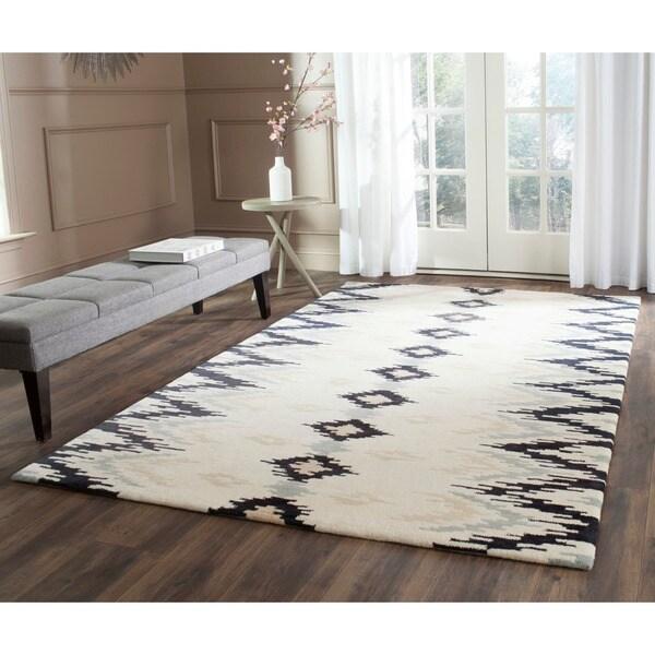 Safavieh Hand-Tufted Soho Ivory/ Dark Grey Wool/ Viscose Rug (5' x 8')