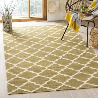 Safavieh Hand-woven Dhurries Green/ Ivory Wool Rug (6' Square)
