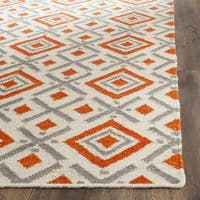 Safavieh Hand-woven Dhurries Ivory/ Tangerine Wool Rug - 6' Square