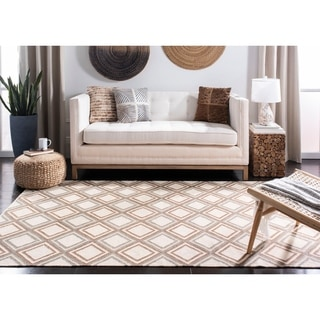 Safavieh Hand-woven Dhurries Ivory/ Blue Wool Rug (6' Square)