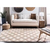 Safavieh Hand-woven Dhurries Ivory/ Blue Wool Rug - 6' Square