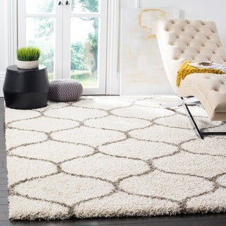 Safavieh Hudson Ogee Shag Ivory Background and Grey Rug (7' Square)